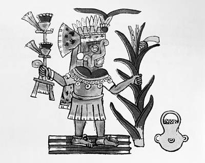 Mesoamerican Painting - Mexico Aztec Deity by Granger