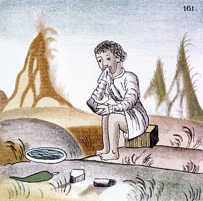 American Food Drawing - Mexico Aztec Eating by Granger