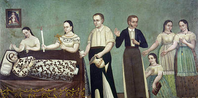Crying Painting - Mexico Mourning Family by Granger