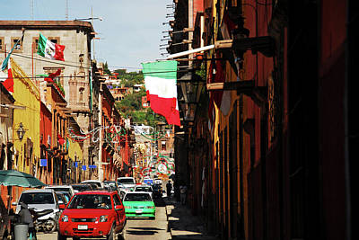 Mexicano Photograph - Mexico, San Miguel De Allende, Flag by Anthony Asael