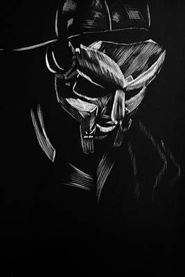Scratchboard Drawing - Mf Doom by Trevor Garner