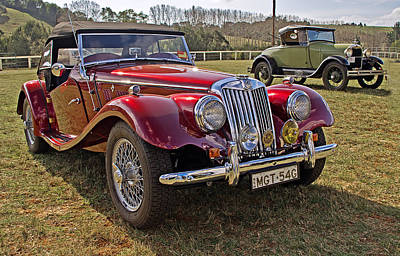 Mg Model Tf 1953 And Ford Model A 1928 Roadsters Print by Tony Crehan
