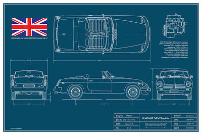 Limited Digital Art - Mgb Mk 4 Blueplanprint by Douglas Switzer