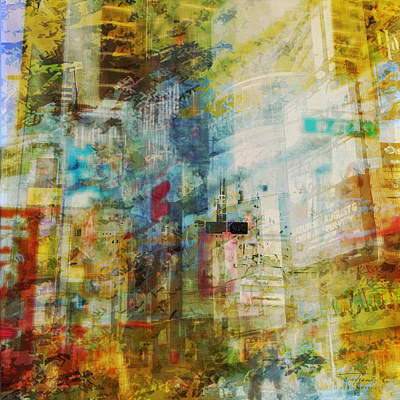 Broadway Drawing - Mgl - City Collage - New York 03 by Joost Hogervorst