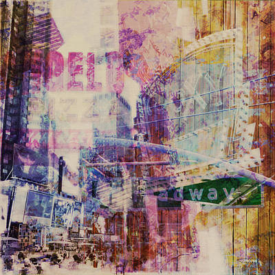 Times Square Drawing - Mgl - City Collage - New York 09 by Joost Hogervorst