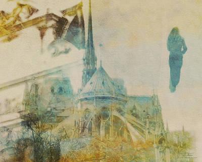Notre Dame Drawing - Mgl - City Collage - Paris 06 by Joost Hogervorst