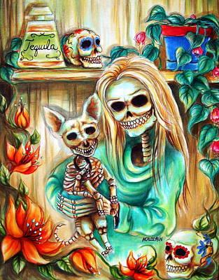 Sugar Skull Painting - Mi Perrito by Heather Calderon