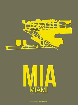 Miami Mixed Media - Mia Miami Airport Poster 1 by Naxart Studio