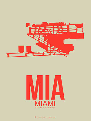 Capital Cities Digital Art - Mia Miami Airport Poster 3 by Naxart Studio