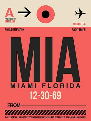Miami Mixed Media - Miami Airport Poster 3 by Naxart Studio