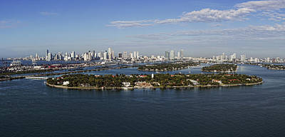 Miami Skyline Photograph - Miami And Star Island Skyline by Gary Dean Mercer Clark