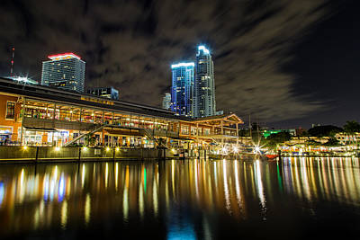 Miami Bayside At Night Print by Andres Leon