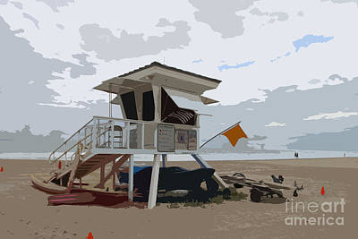 Abstract Beach Landscape Digital Art - Miami Beach Lifeguard Station II Abstract by Christiane Schulze Art And Photography