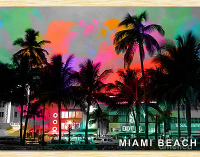 Miami Skyline Mixed Media - Miami Beach by Marvin Blaine