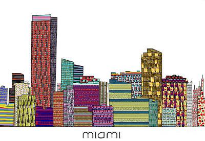 Miami Skyline Mixed Media - Miami  by Bri B