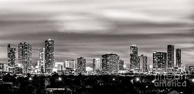 American Airlines Arena Photograph - Miami City Skyline Black And White by Rene Triay Photography