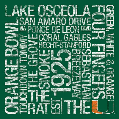 Miami College Colors Subway Art Print by Replay Photos