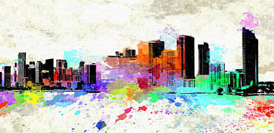 Miami Skyline Mixed Media - Miami by Daniel Janda