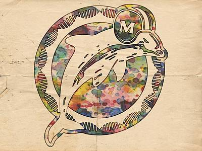 Dolphins Painting - Miami Dolphins Poster Art by Florian Rodarte
