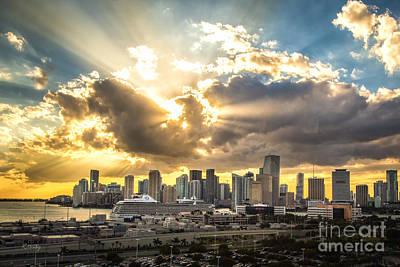 Miami Downtown Metropolis Print by Rene Triay Photography