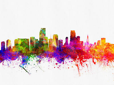 Miami Skyline Digital Art - Miami Florida Skyline by Aged Pixel