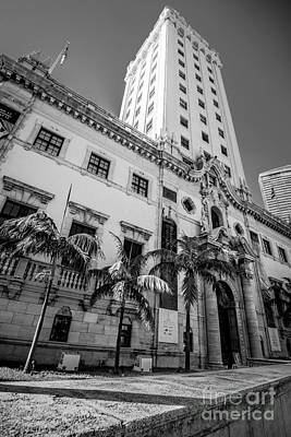 Liberty Building Photograph - Miami Freedom Tower 1 - Miami - Florida - Black And White by Ian Monk
