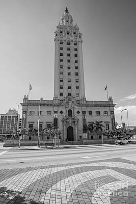 Liberty Building Photograph - Miami Freedom Tower 3 - Miami - Florida - Black And White by Ian Monk