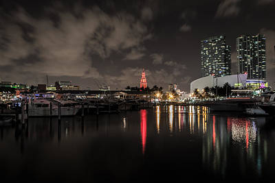 Photograph - Miami Harbor At Night by John Pike