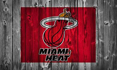 Lebron James Mixed Media - Miami Heat Barn Door by Dan Sproul
