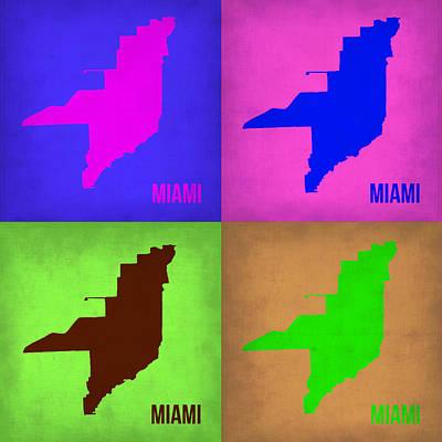 Miami Painting - Miami Pop Art Map 1 by Naxart Studio