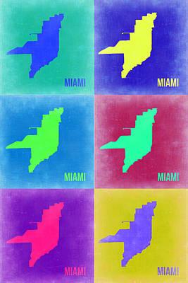 Miami Digital Art - Miami Pop Art Map 3 by Naxart Studio
