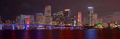 Miami Skyline At Night Panorama Color Print by Jon Holiday