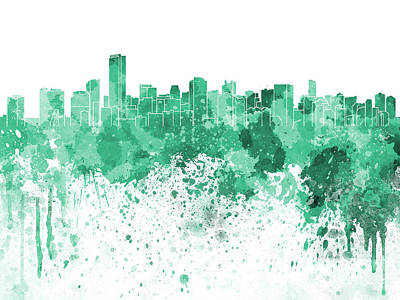 Miami Skyline Painting - Miami Skyline In Green Watercolor On White Background by Pablo Romero