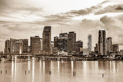 American Airlines Arena Photograph - Miami Skyline In Sepia Tone by Rene Triay Photography