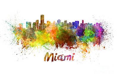Miami Skyline Painting - Miami Skyline In Watercolor by Pablo Romero