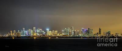 Miami Skyline View II Print by Rene Triay Photography