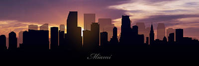 Miami Skyline Photograph - Miami Sunset by Aged Pixel