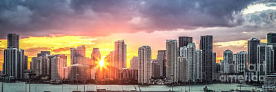 American Airlines Arena Photograph - Miami Sunset Panoramic by Rene Triay Photography