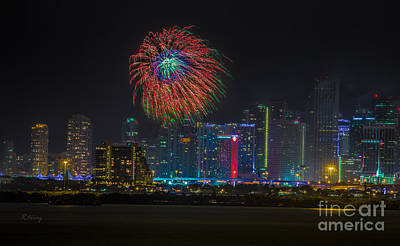 American Airlines Arena Photograph - Miami The Colors Of New Years Celebration by Rene Triay Photography