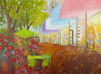 Store Fronts Painting - Miami's Coconut Grove Shops by Douglas Ann Slusher