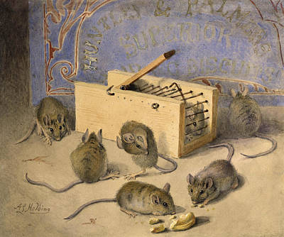 Mice Painting - Mice And Huntley Palmers Superior Biscuits by Agnes Louise Holding