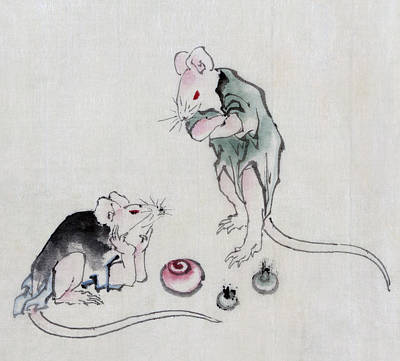 Mouse Drawing - Mice In Council by Katsushika Hokusai