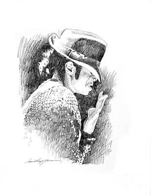 Michael Jackson Drawing - Michael Jackson Hat by David Lloyd Glover