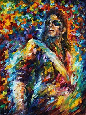 Michael Jackson - Palette Knife Oil Painting On Canvas By Leonid Afremov Print by Leonid Afremov