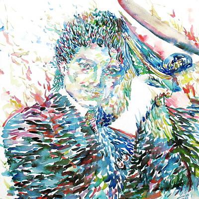 Michael Jackson Painting - Michael Jackson - Watercolor Portrait.3 by Fabrizio Cassetta