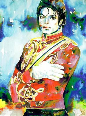 Michael Jackson Painting - Michael Jackson - Watercolor Portrait.5 by Fabrizio Cassetta