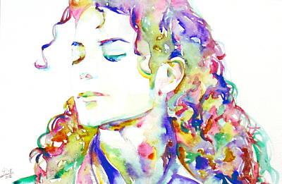 Michael Jackson - Watercolor Portrait.6 Print by Fabrizio Cassetta