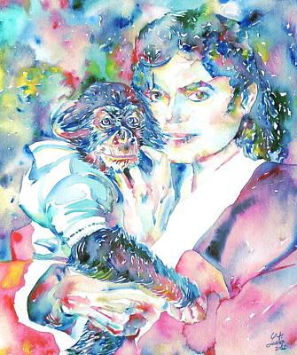 Michael Jackson Painting - Michael Jackson - Watercolor Portrait.9 by Fabrizio Cassetta