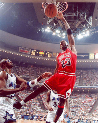 Wizard Photograph - Michael Jordan Dunks With Left Hand by Retro Images Archive