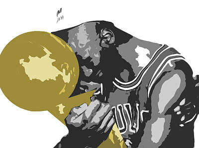 Black Mixed Media - Michael Jordan by Mike Maher